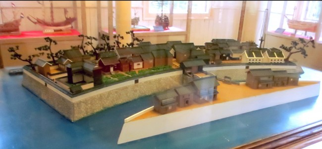 scale model of Dejima island, Nagasaki