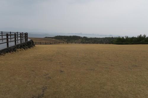 View from Sakurajima island out from art monument Sakurajima Portrait of a scream