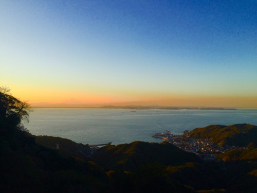 sunset view while hiking down Nokogiriyama mountain