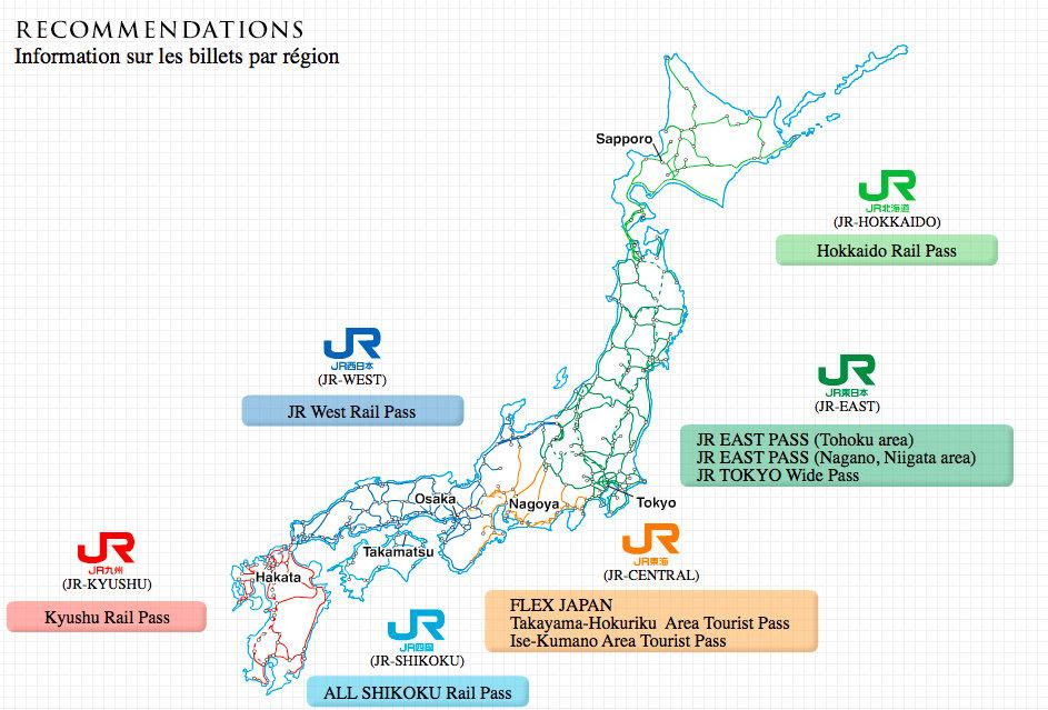 Japon JR Pass Map Carte