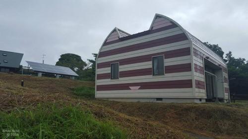 numerous cottages shaped like cats in Tashirojima Japan
