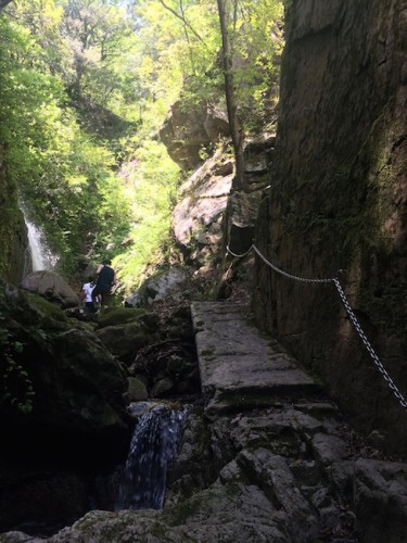 hiking along chained walls