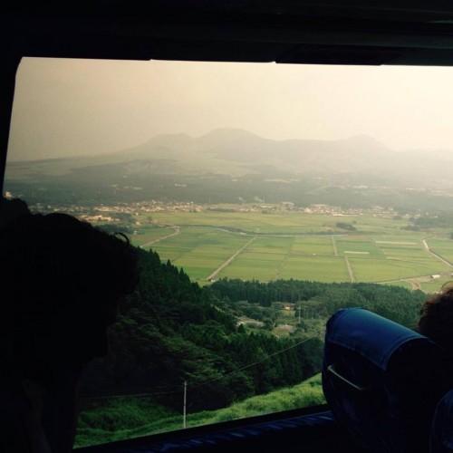 Die Aussicht vom Bus auf dem Weg zum Kurokawa Onsen, Kumamoto, Japan