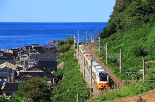 Taking JR Uetsu line along the Sea of Japan, Niigata prefecture, Japan.
