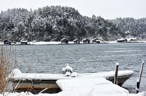Sad island covered with snow