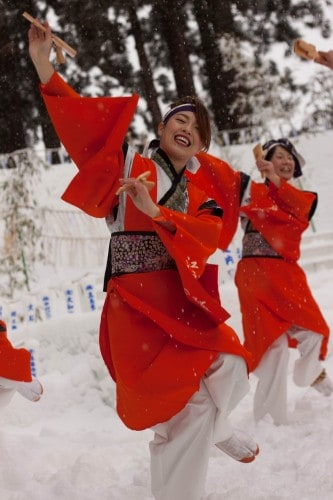 The Yosakoi dance is especially well known for its use of naruko, which are small wooden clappers held in the hands of each dancer.