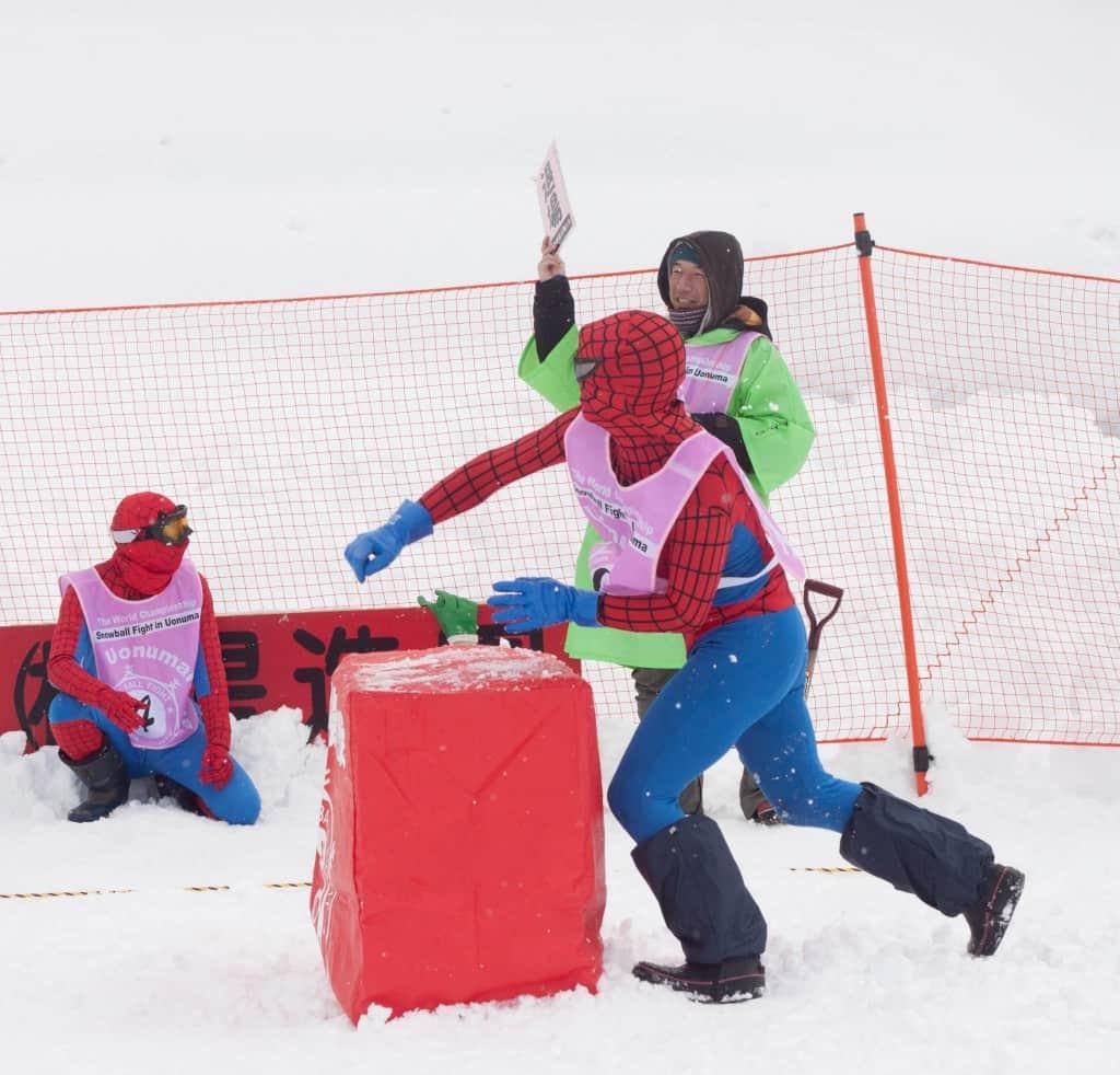 Spidermen players at Koide international snowball fight