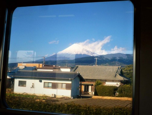 Mount Fuji from a Tokaido train