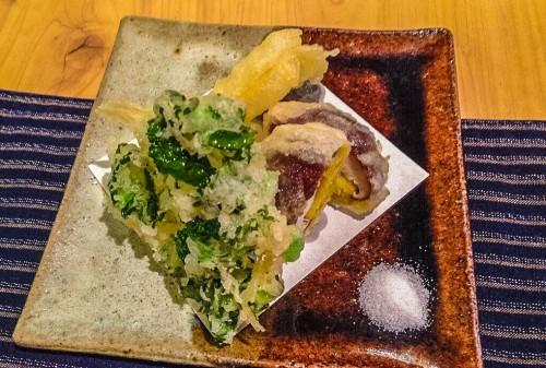 Tempura vegetables as part of a Kaiseki course.