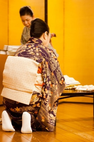 beautiful purple kimono and white obi