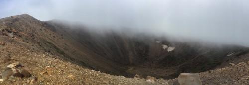 The crater of Little Fuji, Azumayama, in Fukushima, Japan.