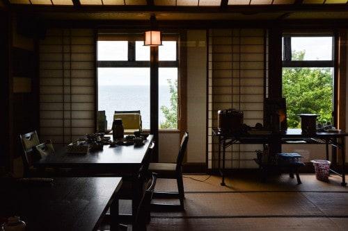 A dining room at Minshuku Takimoto on Sado island, Niigata, Japan