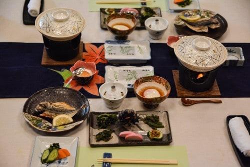the breakfast at Karatsu Onsen Ryokan Wataya, Karatsu, Saga prefecture, Kyushu.
