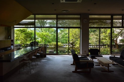 The lobby at Mifuneyama Kanko Hotel, Saga prefecture, Kyushu.