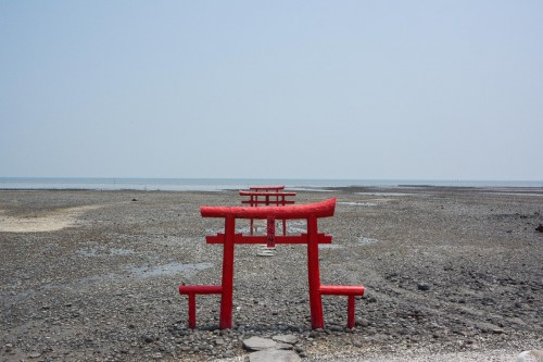 The Kaichu Torii Shrine is an important place and has become a symbol for the village,Tara, Saga.