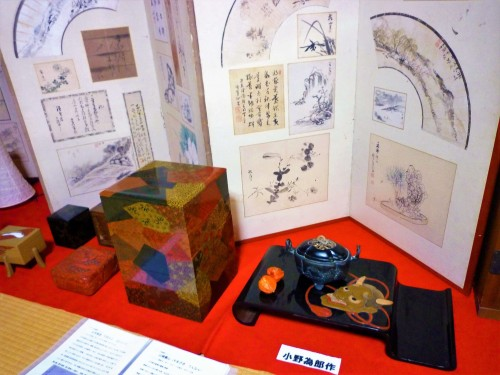 Pieces on display at Kosugi Shikki, Murakami.