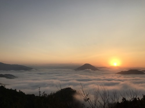 Sea of ​​clouds (unkai) found in Ozu City, Shikoku Island, Japan