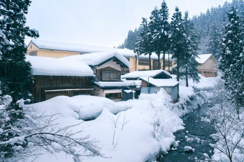Snow Covered Farm Town and Rice Fields in Takane Village Niigata