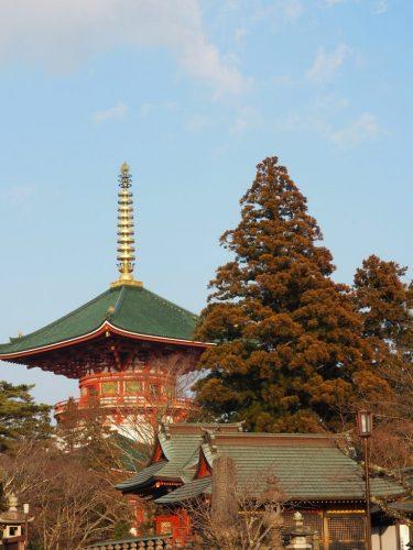 The historical Narita-san Temple and its shopping street near the Narita International Airport in Japan.