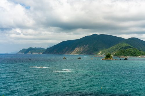 The beautiful mountains reach the sea in Fukui Prefecture, Japan.