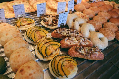 Bakery showcase in all Es Koyama shops, Sanda, Hyogo Prefecture, Japan