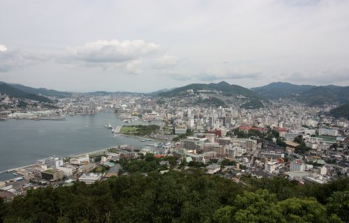 ou can either ride a cable car up Mt. Inasa to reach its observatory or go to Mt. Nabekanmuri by car at the south.