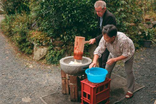 Preparing mochi with Ogi locals in Shiga Prefecture, near Kyoto, Japan