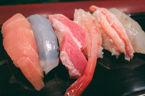 Several pieces of seasonal sushi from Toyama Bay.