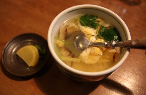 A hearty soup at Mingeichaya, an izakaya restaurant in Kurashiki, Okayama.