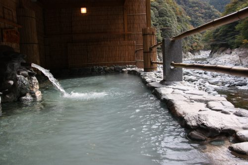 One of the hot springs baths at Iya Onsen Hotel, Tokushima Prefecture.