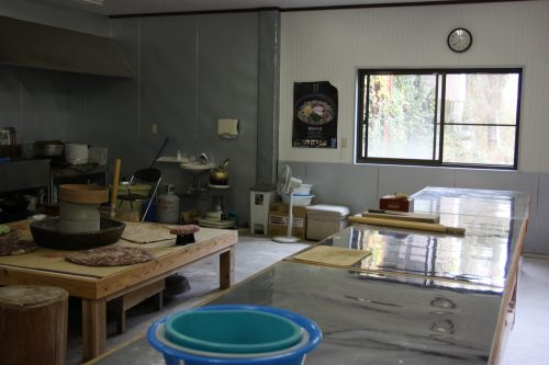 Mrs. Tsukimi's kitchen is the workshop for making homemade soba noodles.