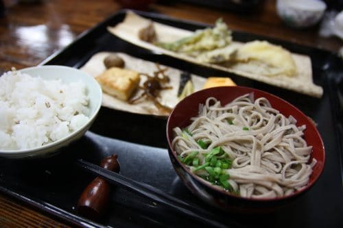 The finished meal including your homemade soba noodles in Nagoro village, Tokushima.