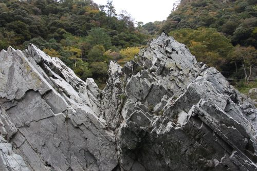 White rock formations of Oboke Gorge along the Yoshino River, Tokushima Prefecture.
