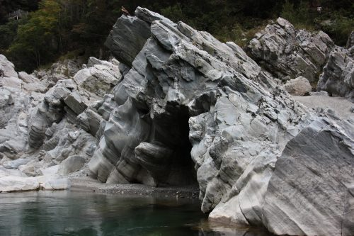 Rock formations of Oboke Gorge along the Yoshino River, Tokushima Prefecture.