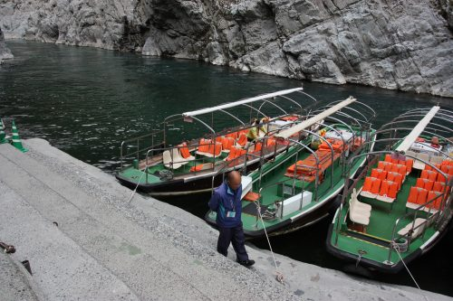 Boat tours of the Oboke Gorge are available in Tokushima Prefecture, Shikoku.