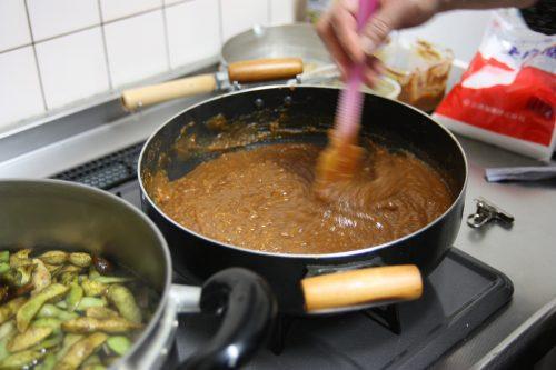 Making homemade yuzu miso at Yuzu No Sato minshuku in Mima town, Tokushima, Shikoku.