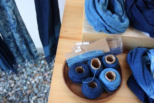 Indigo dyed products in Udatsu, Tokushima Prefecture.