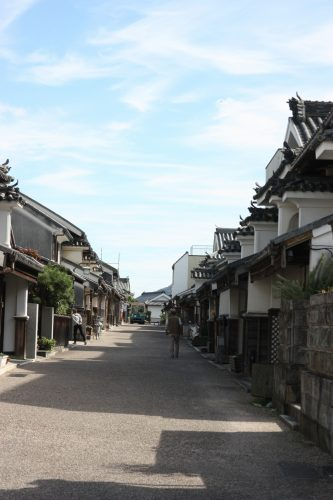 Entire street lined with Edo era buildings in Udatsu, Tokushima Prefecture.