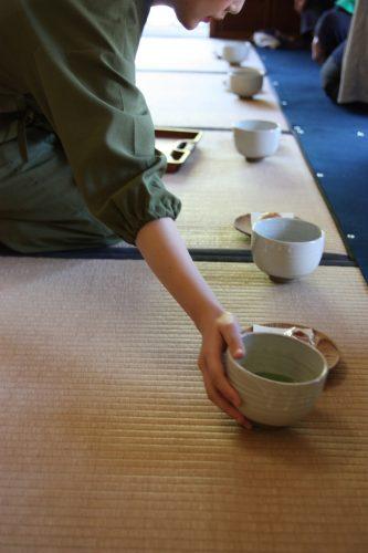 Serving bowls of matcha at Ritsurin Garden in Takamatsu, Kagawa Prefecture in Eastern Shikoku.