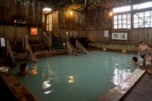 Mixed bathing is possible at Sukayu onsen, Aomori prefecture in the Tohoku region, Japan.