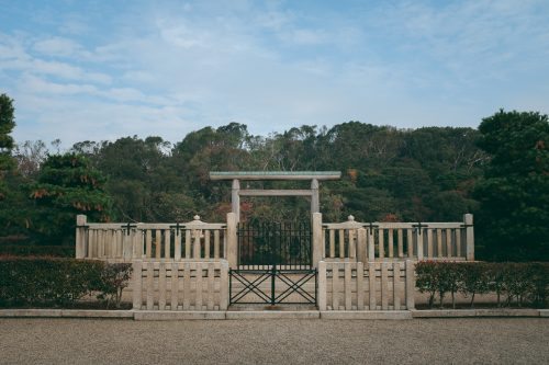 Kofun, huge imperial burial, in Sakai, Osaka, Kinki, Japan