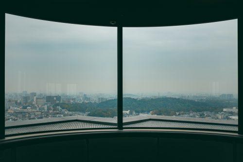 View of kofun from Sakai City Hall, Sakai, Osaka, Kinki, Japan