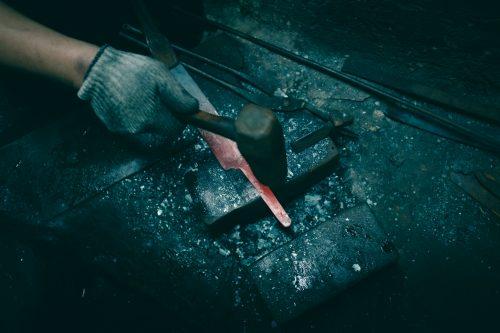 Manufacture of a knife in the forge of Mizuno Tanrenjo, Sakai, Osaka, Japan