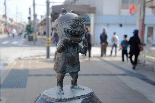 Statue of Neko Musume along the Mizuki Shigeru Road in Sakaiminato, San'in Region, Tottori, Japan