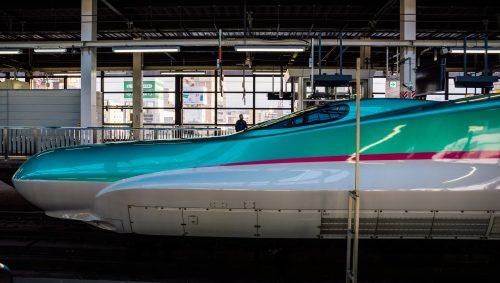 Hayabusa E5 Shinkansen on the Tohoku Shinkansen line.