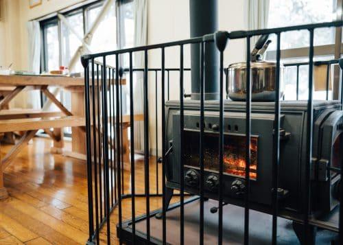 Wood burning stove at Lodge Yodel, Tazawako, Semboku, Akita, Tohoku, Japan.