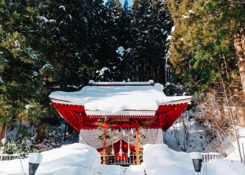 Gozanoichi Shrine at Lake Tazawa, Semboku, Akita.