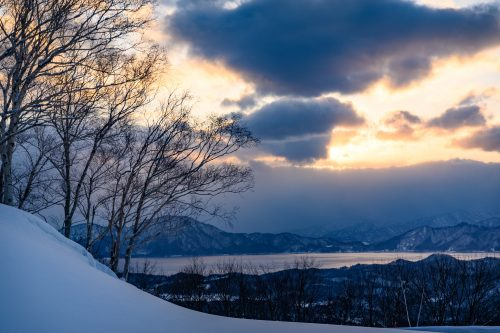 Sunset on Lake Tazawa, Akita, Tohoku region, Japan.