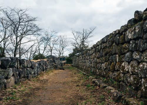 Old stone walls at Oka Castle Ruins, Taketa city, Oita, Kyushu