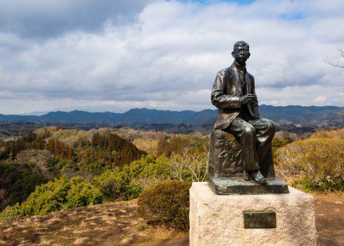Statue of Rentarou Taki at Oka Castle Ruins, Taketa city, Oita, Kyushu